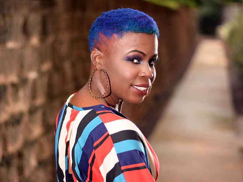 Vibrant Blue Short Natural Hair With Color