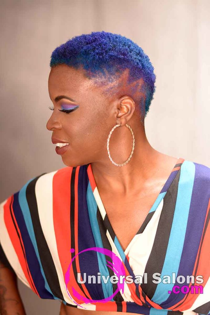 Bold Short Natural Hair With Hair Color and Design Part