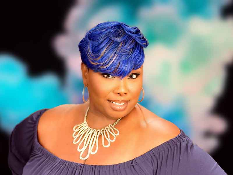 Blue Side Bob Hairstyle for Black Women
