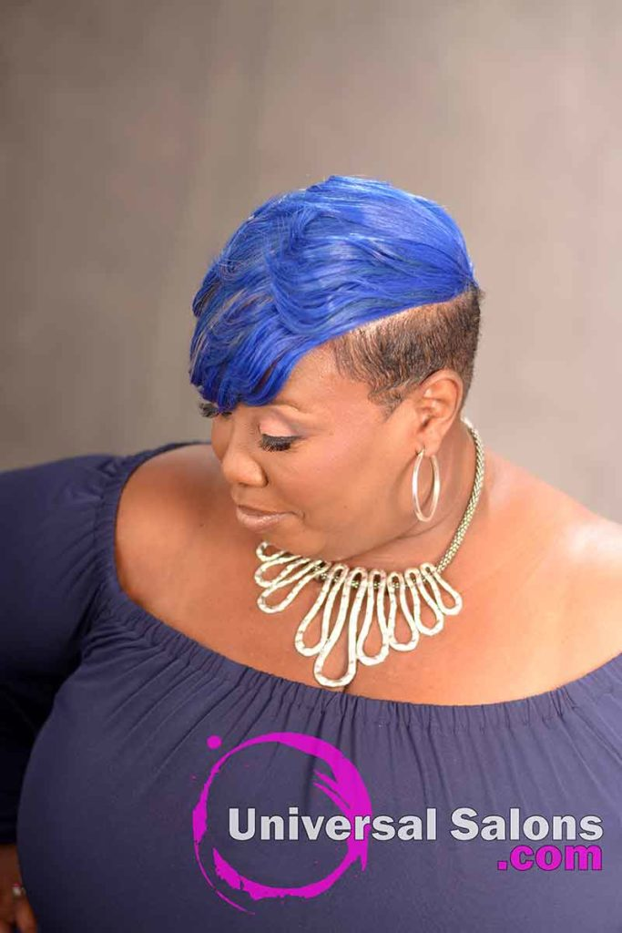 Right View of a Blue Side Bob Hairstyle for Black Women