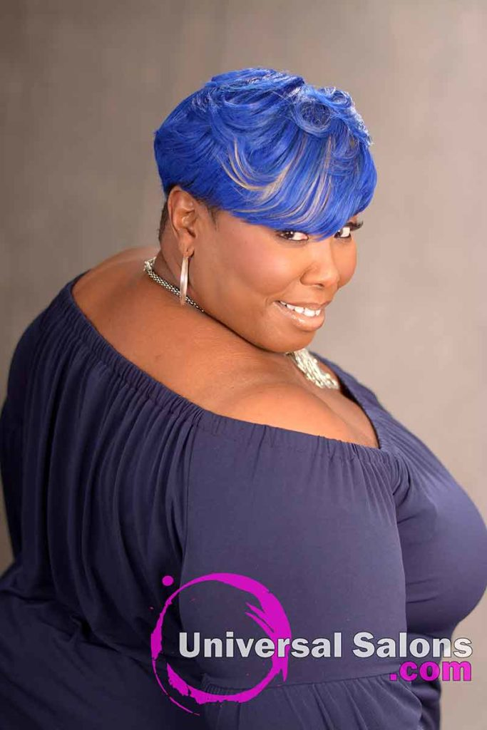 Side View of a Blue Side Bob Haircut for Black Women