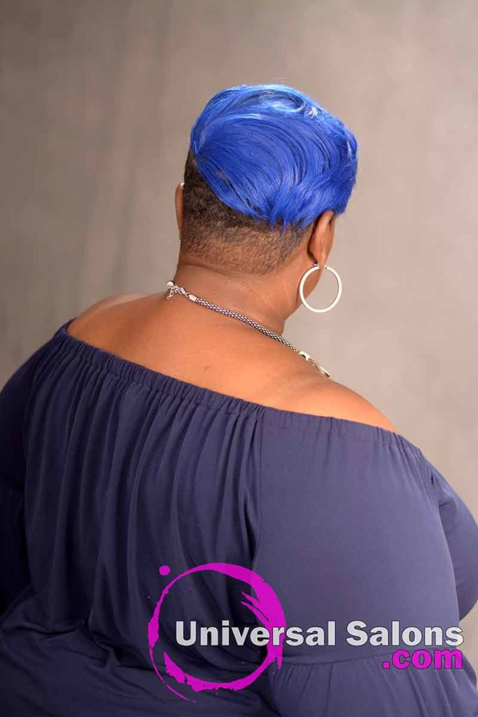Back View Blue Side Bob Hairstyle for Black Women