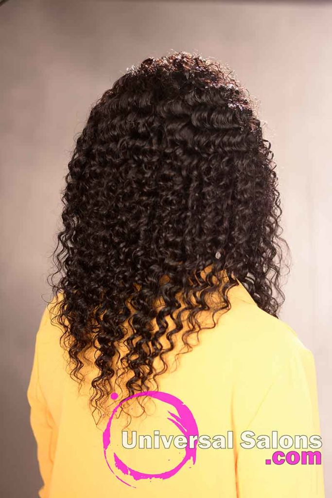 Back View of a Deep Wave Hairstyle for Black Women