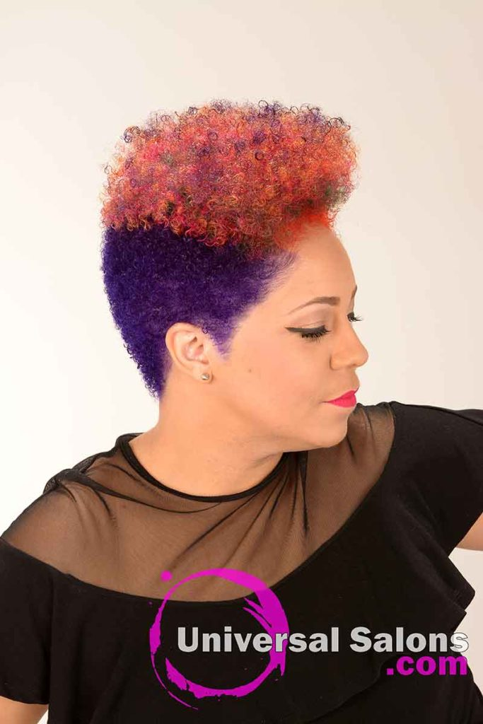 right View of a Short Natural Rainbow Hair Color