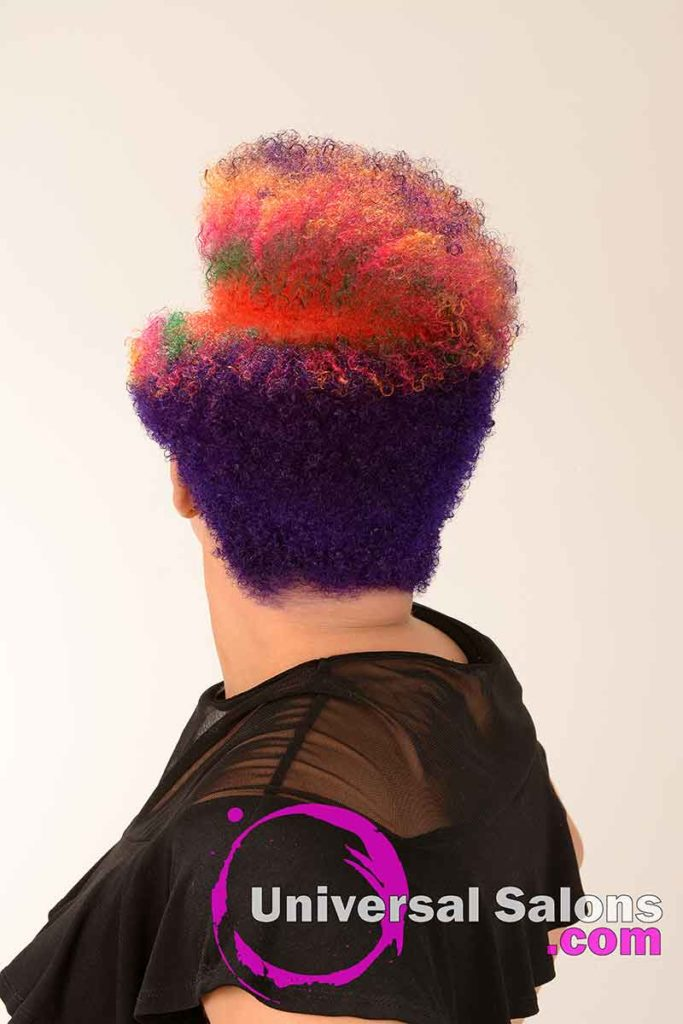 Back View of a Short Rainbow Hair Color