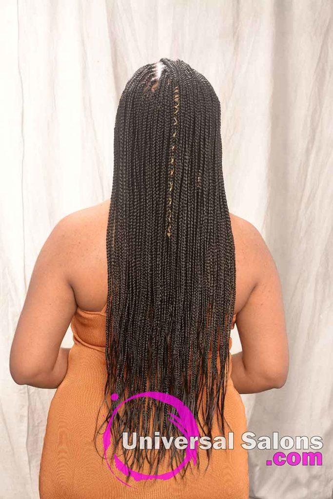 Back View of Long Knotless Box Braids