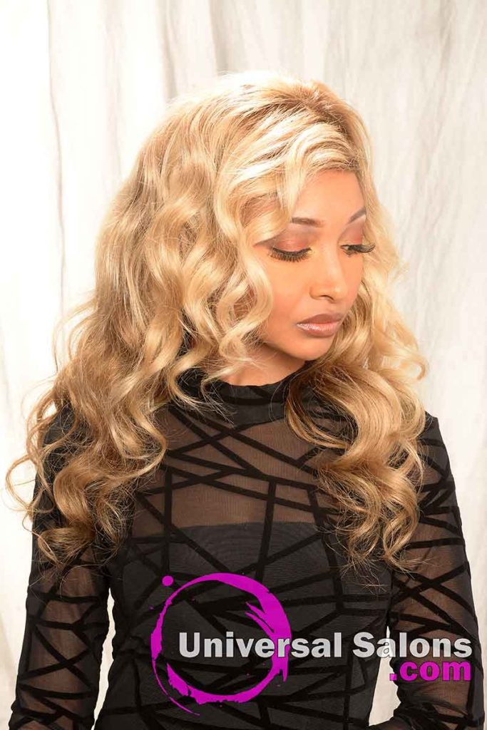 Lond Wand Curls With Blond Hair