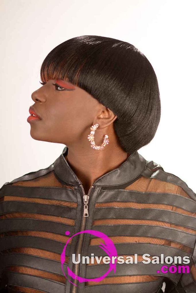 Left View With Chin Up Asymmetrical Blunt Bob Haircut