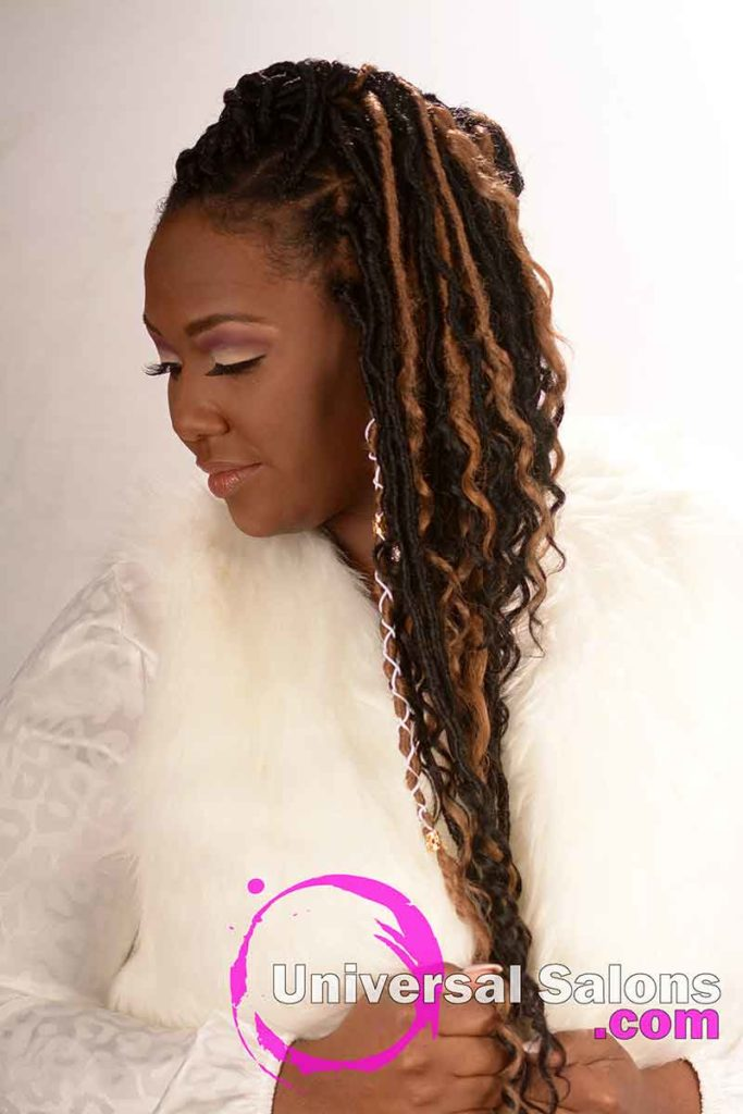 Right View of Long Ombre Goddess Locs Hairstyle