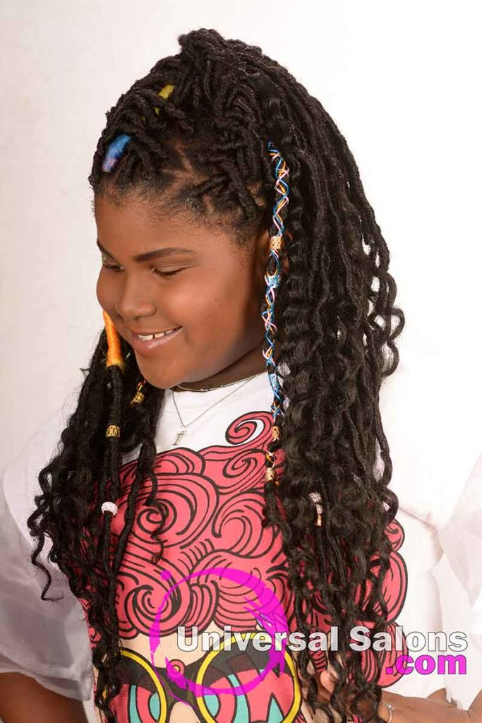 Right View of a Faux Locs Kid's Hairstyle