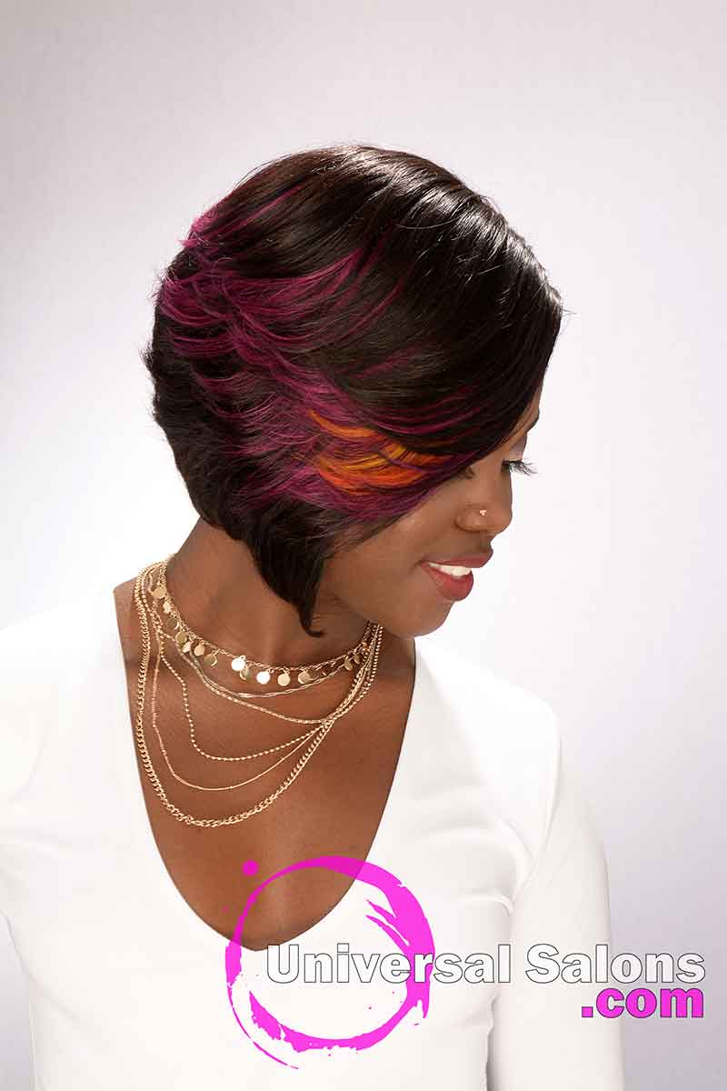 Right View Colorful Quick Weave Bob Closure