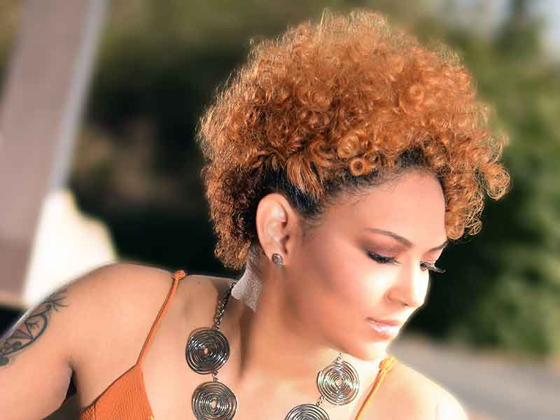 Curly Hairstyle With Ginger Hair Color for Black Women