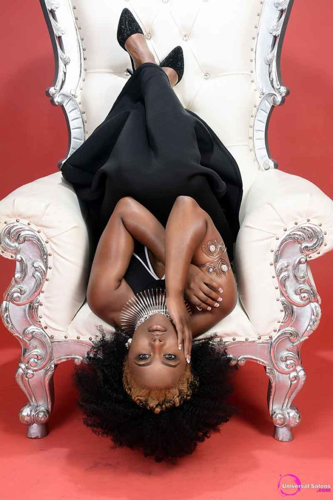 Black Model Laying Upside Down