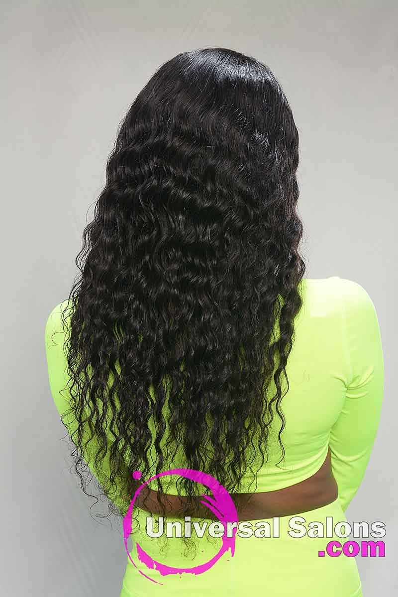 Back View Long Curly Lace Frontal Wig