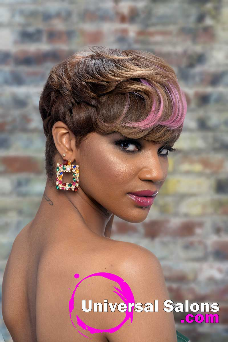 Right View Pixie Hairstyle With Pink Highlights