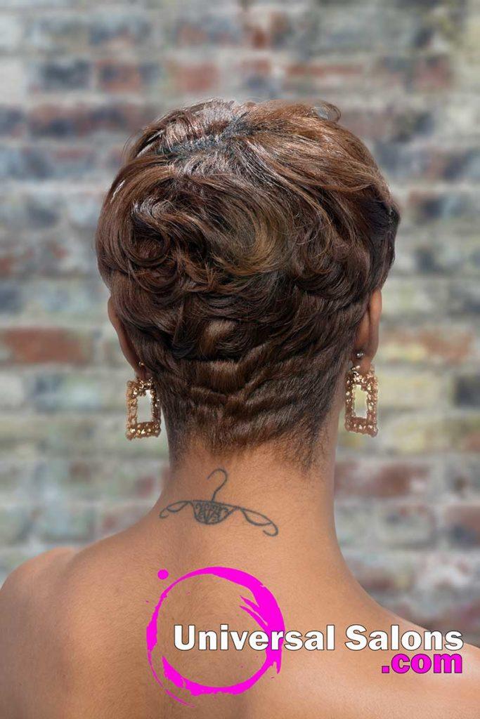 Back View Short Pixie Cut for Black Women