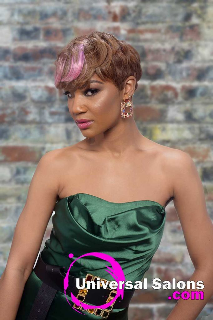 Model With Short Pixie Cut Hairstyle for Black Women