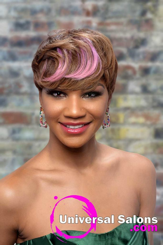 Model Smiling With Pixie Cut Hairstyle