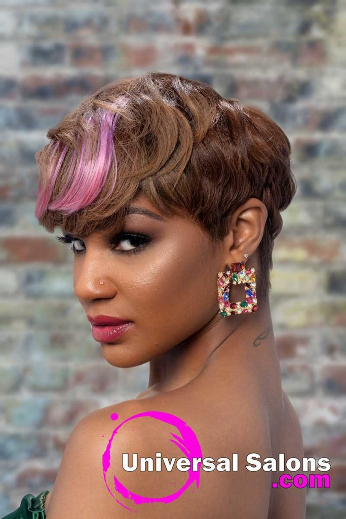 Lft View Short Hairstyle for Black Women With Color