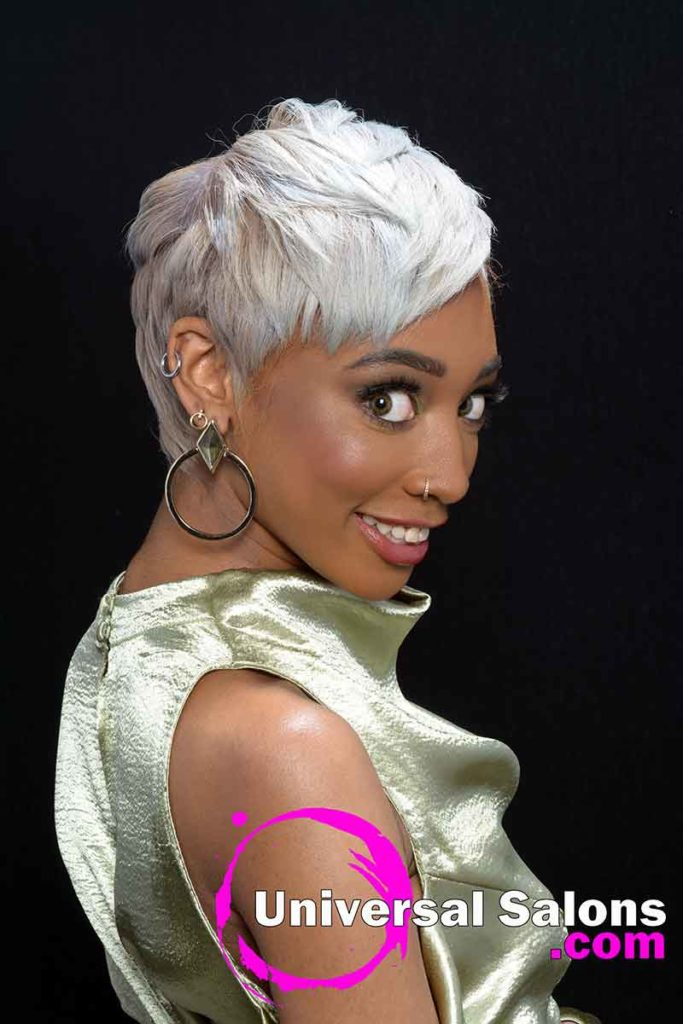 Left View of Platinum Blonde Short Hairstyle for Black Women